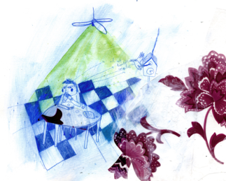 """L'heure du gouter"" Illustration - Collage et dessin"