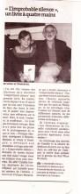 """Article de presse - Vernissage et signature - Expositions des illustrations de l'ouvrage """"L'improbable silence"""" écrit par Philippe Marquis"""