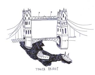"""""""Tower Bridge"""", Illustration extraite de mon carnet de bord londonien - Ouvrage London Diary, 2014"""